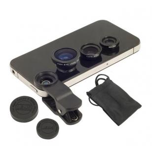Lenzenset voor telefoon - fisheye, groothoek en macro