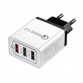 3 USB adapter met Quick Charge 3.0 wit
