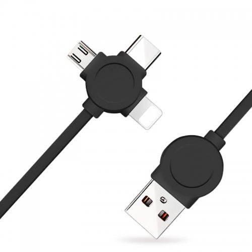 Nohon 3 in 1 kabel: Lighting, micro USB, USB-C