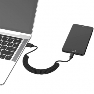 Nylon gekrulde micro USB kabel 1,3 meter zwart