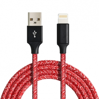Lightning kabel nylon zigzag 1 meter rood