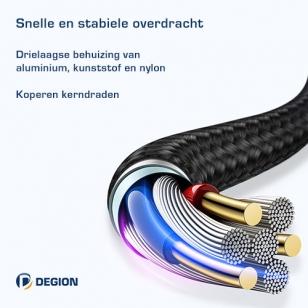 Degion nylon haakse Lightning kabel 2 meter
